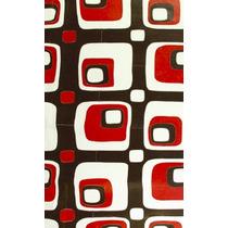 Tapete Decorativo Domino En Piel De Vaca Rojo.café.beige