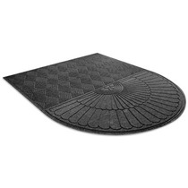 Tapete Tipo Alfombra Medio Ovalo Color Negro De 182x213 Cm