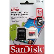 Micro Sd Sandisk Ultra 64gb Clase 10 80mbs Nueva Version!