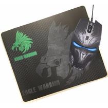 Kit Mouse + Tapete Eagle Warrior Gamer G14 Luz Led Azul Usb