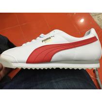 Tenis Puma Roma Clásico Blanco Con Rojo