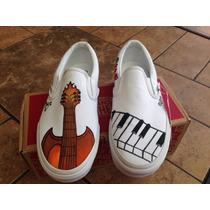 Tenis Pintados A Mano Piano Guitarra Música Banda Iph