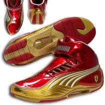 Tenis Puma Sl Tech Ferrari Bota Sneakers Casuales Dorado Gym