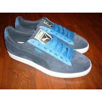 Puma Suede Eco. 7.5mx. Azul. Gamusa. Nuevo En Caja.