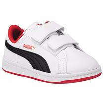 Tenis Puma Ferrari Smash L V Kids 357339-10 Blanco Negro Oi