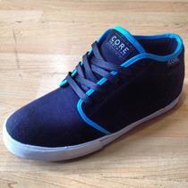 Tenis Core Footwear Modelo Flatland Negro / Turquesa Chukka