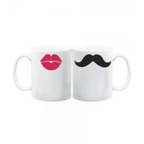 Tazas Cerámica Sublimadas Pareja Diseño Moustache Kiss