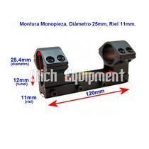 Montura Monopieza Riel 11mm 20mm Mira Telescopica 25mm 30mm