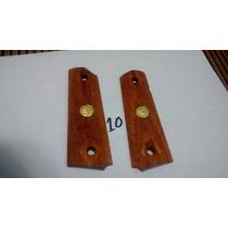 Cachas De Madera Para Colt 1911 Medallon Dorado # 10