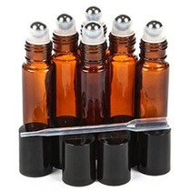 6, Alta Calidad, Amber, 10 Ml De Cristal Roll-on Botellas Co