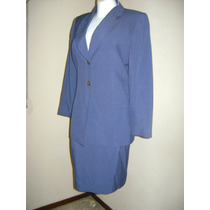 Traje De Dos Piezas Saco-falda Azul Raya De Gis!! St42