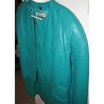 Traje De Piel (saco Y Falda) Color Verde Talla 10