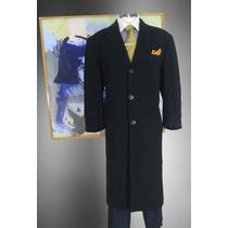 Abrigo Largo Andrew Fezza Talla 46l Color Negro Cashmere