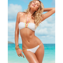 Victorias Secret Bikini Blanco Cintas Neon Mediano Amyglo