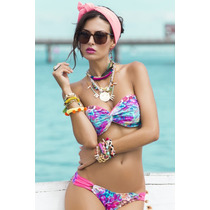 Bellisimo Bikini De Colores Con Push Up Entrega Inmediata!!
