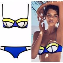 Bikini Azul Amarillo Traje De Baño Dama Talla 34 M Playa Sex