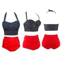 Bikini Retro Push Up Talla 32 Chica Traje De Baño Rojo Negro