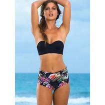 Bikini Vintage Cintura Alta Bikini Mujer Push Up Tipo Corset