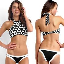 Bandeaukini Bikini Traje De Baño Cuadros Moda Japonesa