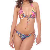 Bikini Multicolor Talla L Playa Verano Mujer Vintage