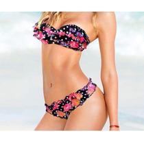 Bikini Traje De Baño Push Up Strapless Flores Scrunch