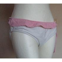 Panty De Bikini Blanco Con Borde Rosa Talla Xl Tb217