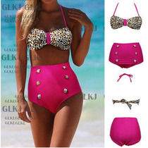 Bikini Vintage Push Up Cintura Alta Bikini Animal Print