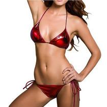 Bikini Rojo Metalico, Top+tanga=conjunto Super Sensual.