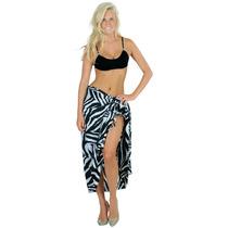 La Leela Likre Zebra Hawaiian Pareo Cubierta Hasta Pareo Neg
