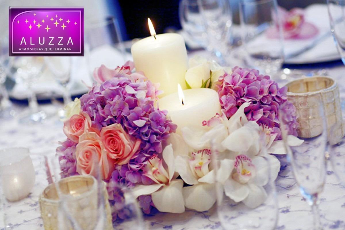 Tri de velas decorativas para centro de mesa aluzza for Vallas decorativas para jardin