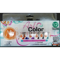 Kit De Pinturas Acrílicas Finas Art Color 12 Pzs Mc Nails