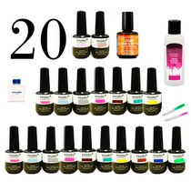 20 Esmaltes Gel Uv Led Tipo Gelish 15 Ml Profesional Oferta