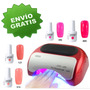 Kit Lampara Uv Profesional Temporizador 8 Gelish Base Y Top