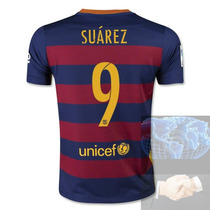 Jersey #9 Suarez Barcelona Roja Azul Nike 2016 Local Playera