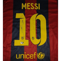 Jersey Autografiado Firmado Lionel Messi Barcelona Triplete