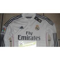 Jersey Adidas Real Madrid 100% Original 2014-2015 Manga Larg