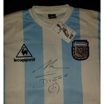 Jersey Autografiado Maradona Seleccion Argentina Mexico 86