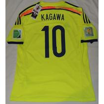 Jersey Selección Japón Mundial 2014 Kagawa 10 Parche Oficial