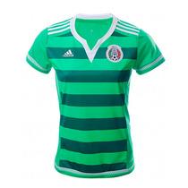 Seleccion Mexico Femenil Adidas Verde Short Jersey Playera