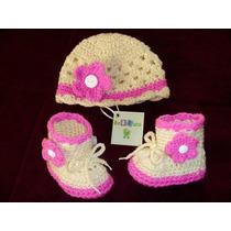 Conjuntos De Calidad Gorro Zapatos Botas Para Bebé Tejidos