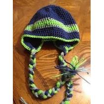 Gorro Casco Nfl Seattle Patriots Crochet Tejido A Mano