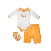 Conjunto 3 Piezas Baby Creysi Bebé Naranja Nuevo 6 Meses