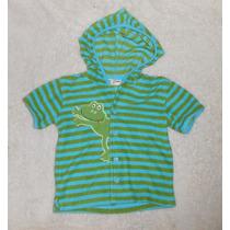 Playerita Verde Con Azul Rayas Tela Toalla Con Rana 18 Meses