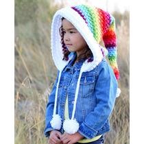 Gorro Capucha Tejido Crochet Niñas Unisex Regalos Invierno