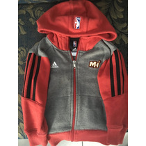 Chamarra Infantil Gorro Y Cierre Adidas Original Miami Heat
