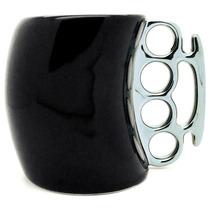 H1061 Taza Negra De Ceramica Estilo Rudo Con Boxer Plateado