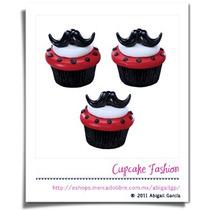 12 Anillos Bigotes Cupcake Mustache Toppers Decoración #777