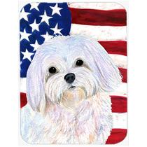 Bandera De Ee.uu. Americana Con Placa De Corte De Cristal Gr