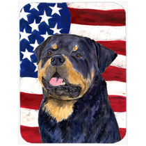 Bandera Americana Con Ee.uu. Rottweiler De Cristal Tabla De