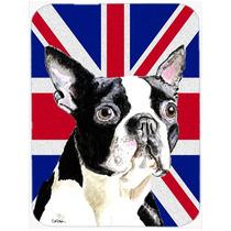 Boston Terrier Con La Unión Jack Británica Inglés Cristal